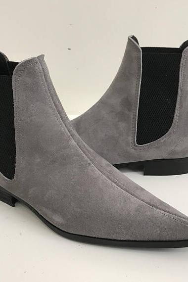 Handmade Men Gray Color Suede Chelsea Boots, Mens Gray Fashion Chelsea Boot