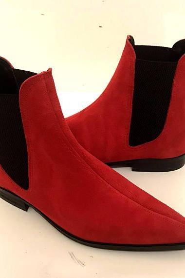 Handmade Men Red Color Suede Chelsea Boots, Mens Red Fashion Chelsea Boot