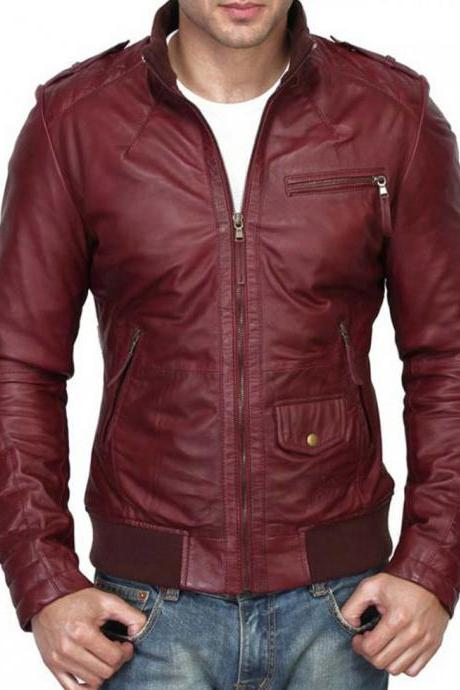 Men Maroon Color Slim Fit Leather Jacket. Men Fashion Biker Leather Jacket
