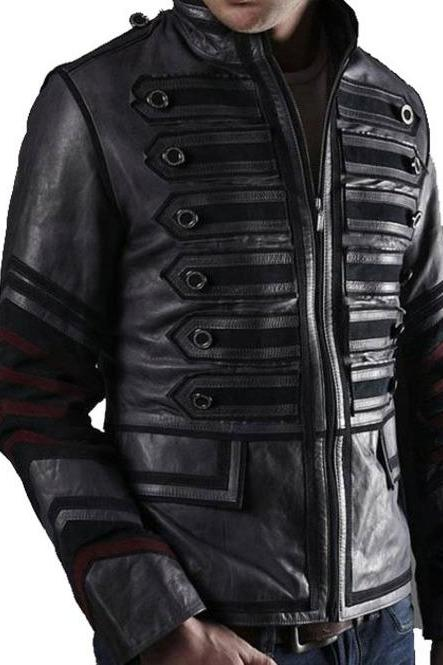 Men Black Military Leather Jacket Men Military Style Jacket, Men Leather Jacket