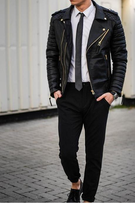 New Men Fashion Trend Black Motorcycle Leather Jacket, Men Biker Fashion