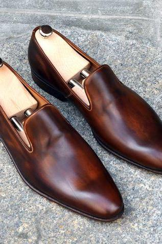 Handmade Men brown leather shoes moccasins, Men leather shoes, Shoes for men
