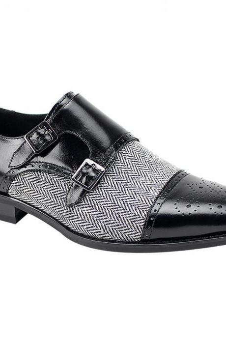 Handmade Two Tone Gray Tweed Black Leather Shoes Double Monk Formal Shoes Men's