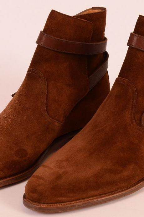 Handmade Brown jodhpurs Boots, Men Brown ankle Boots, Men Suede Leather Boot