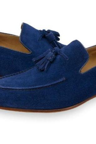 Mens Blue Suede Tassels Shoes Moccasins, Men Casual Suede Leather Shoes