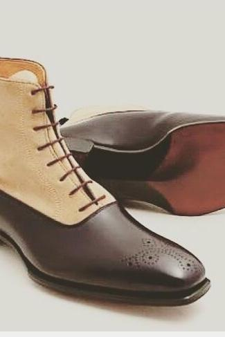 Handmade Men Two Tone Ankle Boots, Men Brown And Beige Suede Lace Up Boots