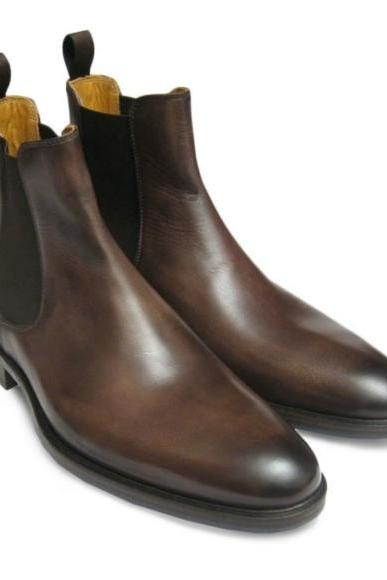 Handmade Men Brown Leather Chelsea Boots, Men Ankle Boots, Men Chelsea Boot