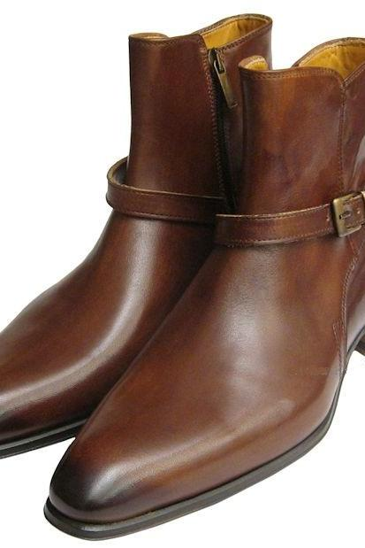 Handmade Men Brown Jodhpurs Boots, Men Ankle Boots, Men Leather Boots