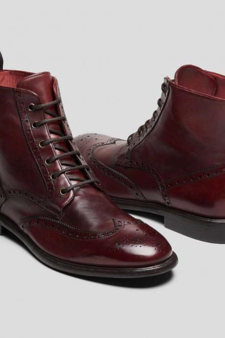 Handmade Men Burgundy Color Lace Up Boots, Men Ankle Leather Boots, Men Boots