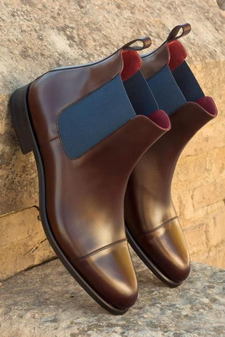 Handmade Men Brown Chelsea Boots, Men Ankle Boots, Men Leather Boots