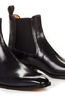 Handmade Men Black color Chelsea boots, Men ankle boots, Mens leather boots