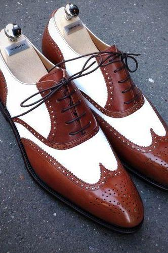 Handmade Men Wingtip two tone Spectator formal shoes, Men brown and white shoes