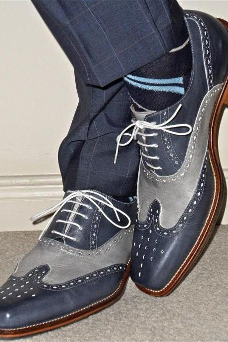 Handmade Men two tone wing tip brogue formal shoes Men Blue and gray dress shoes