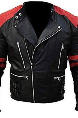 Men's Brando Classic Biker Black and Red Vintage Motorcycle 100% Leather Jacket