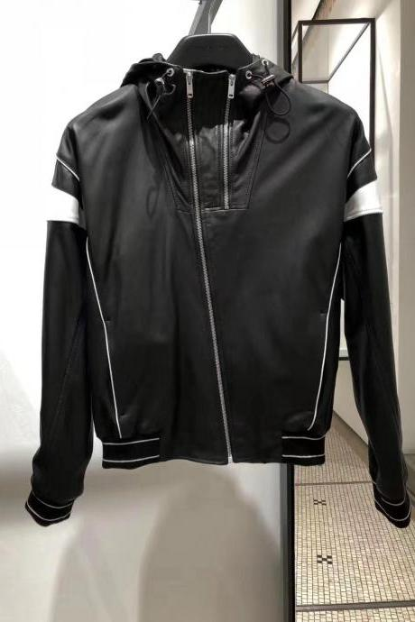 Men Black Hooded Leather Jacket, Men Leather Jackets, Hooded Jacket For Men