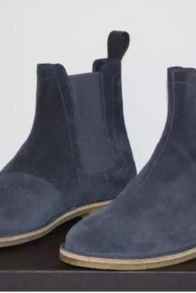 Handmade Men Dark Gray Suede Chelsea Boots, Men Gray Suede Casual Ankle Boots