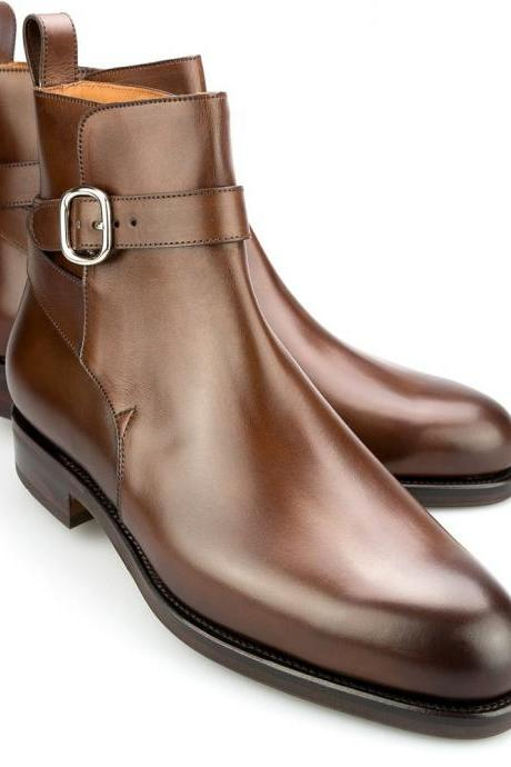 HANDMADE MEN JODHPURS BROWN ANKLE REAL LEATHER BOOT, MEN BOOTS