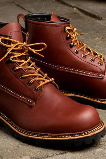 Handmade men genuine leather boots, Mens Brown ankle high leather boots