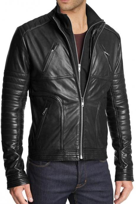 Handmade mens fashion biker leather jacket, Men Hollywood style leather jacket