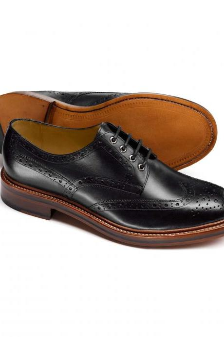 Handmade mens derby black dress shoes, Men good year welted real leather shoes