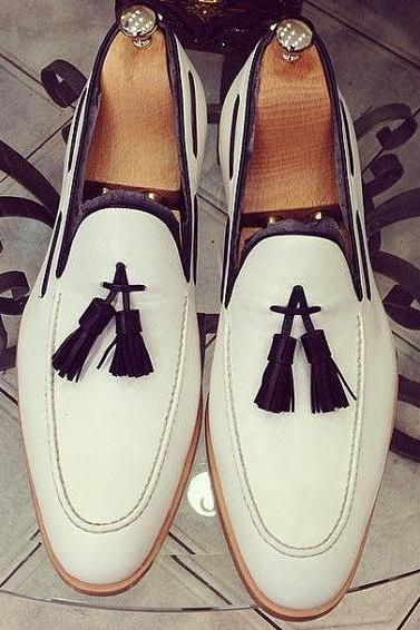 Handmade men White leather shoes, Men genuine leather Moccasins shoes, Men shoes
