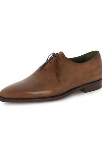 Handmade men brown genuine leather formal shoes, Mens lace up brown dress shoes