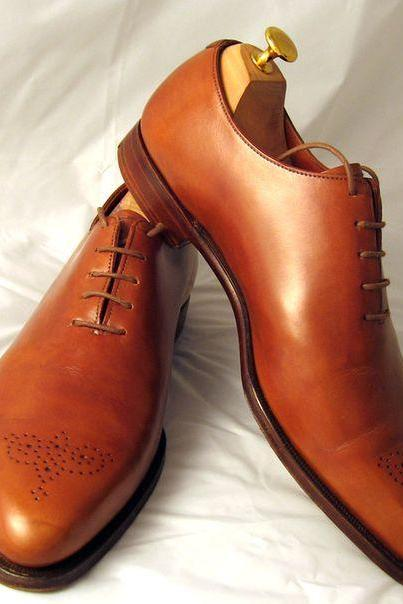 Handmade men fashion brown oxford lace up formal brogue shoes