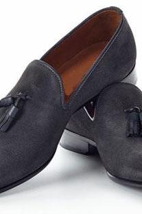 Handmade men dark gray suede leather moccasins shoes, Men suede leather shoes