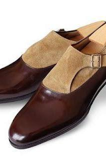 Men Fashion Brown and beige two tone monk shoes, Men formal leather shoes