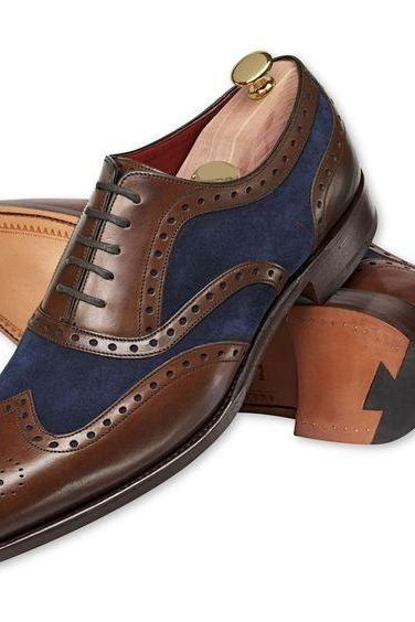 Handmade men two tone wing tip brogue formal shoes, Men dress shoes, Men brown and Navy blue shoes