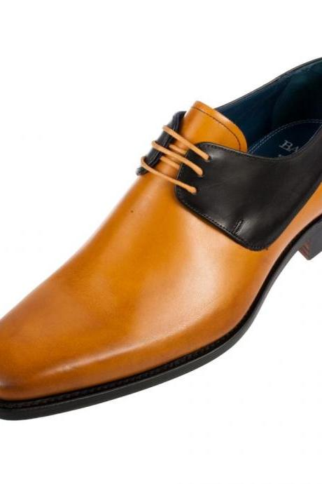Handmade mens shoes, Mens tan and black derby shoes, Men laceup shoes, Men leather shoes