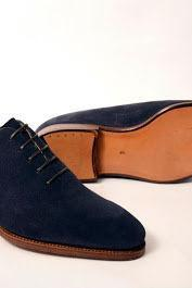 Handmade Mens good year welted sole suede dress shoes, men navy blue dress shoes
