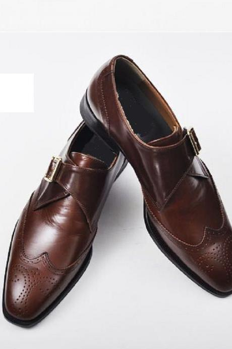 Handmade men brown dress shoes, Mens leather monk shoes, Mens formal shoes