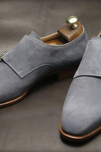 Handmade men Gray Suede dress shoes, Mens Suede monk shoes, Mens formal shoes
