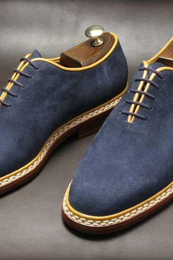 Handmade men Navy blue Suede dress shoes, Mens Suede shoes, Mens formal shoes