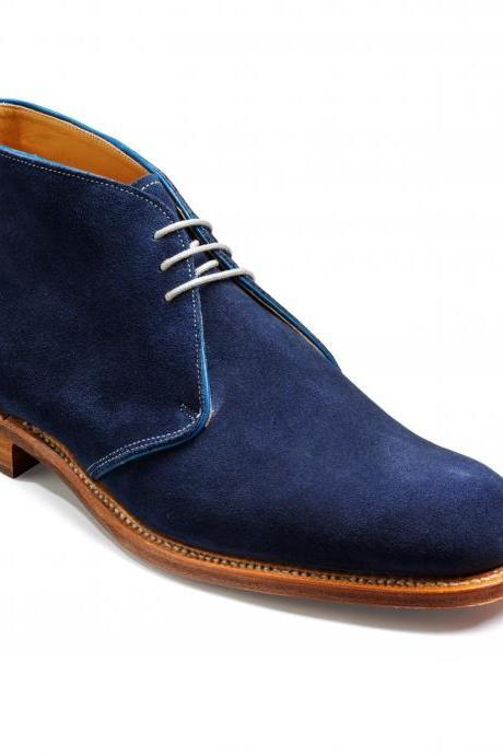 Handmade men real suede Nany blue color derby shoes, Men dress shoes, Mens formal shoes, Men shoes