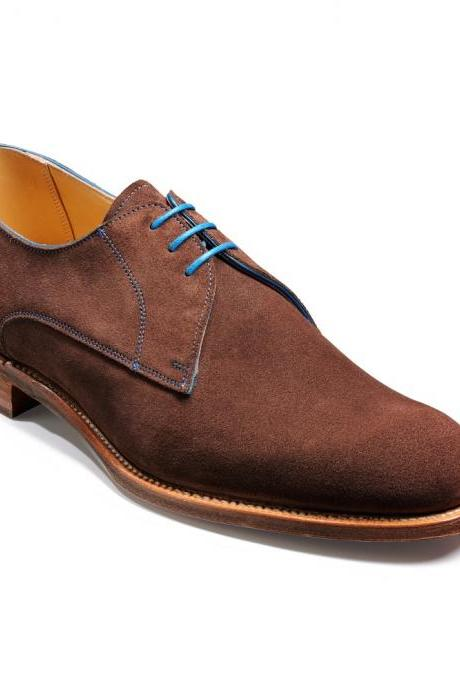 Handmade men real suede brown color derby shoes, Men dress shoes, Mens formal shoes, Men shoes
