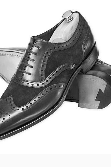 Handmade men genuine leather and suede wingtip formal shoes, Men dress shoes