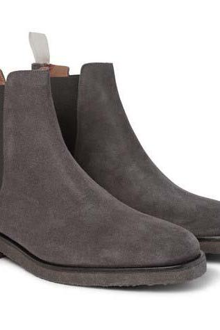 Handmade men dark gray color suede boot, Men gray crepe sole boot, Mens boot
