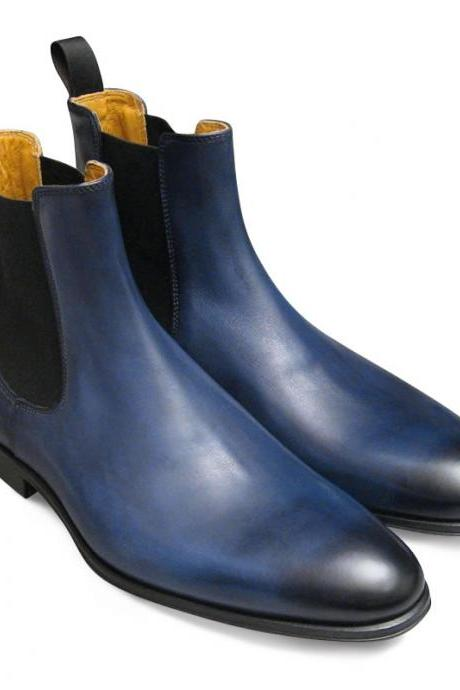 Men Navy blue genuine leather Chelsea boot,Men leather boot, Men formal boot