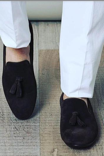 Handmade men black color tassel shoes, suede shoes, men black shoes, casual suede moccasins shoes