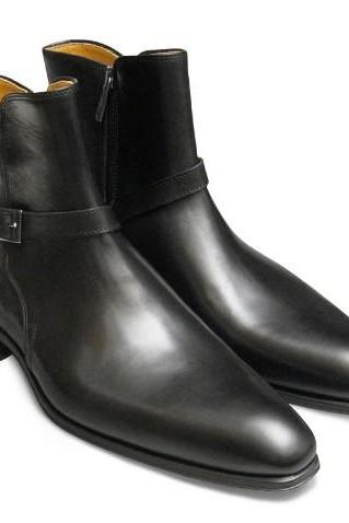 Handmade men jodhpurs boot, Men black genuine leather boot, Men leather boot