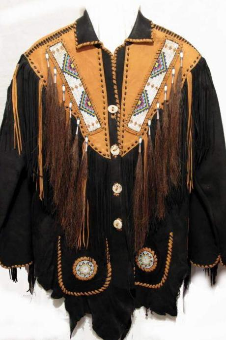 Mens Black Western Leather Jacket With Brown Fringe, Bone Beads, M ens fringe jackets