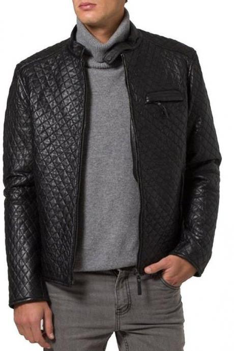 Mens quilted leather jacket, New men quilted motorcycle jacket, Mens black biker jacket, Men jacket
