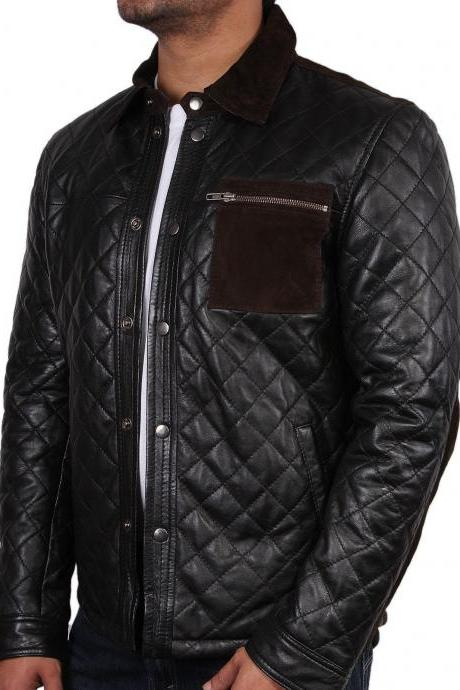 New Mens quilted leather jacket, New men quilted motorcycle jacket, Mens black biker jacket, Men jacket