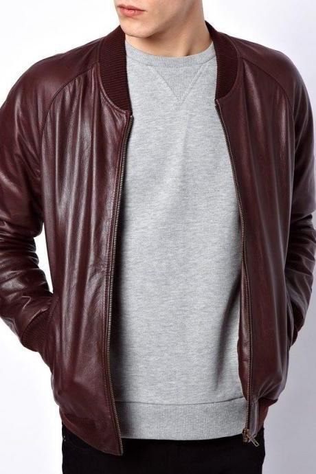 MEN'S BIKER LEATHER JACKET, MEN MAROON LEATHER JACKET, MENS JACKET