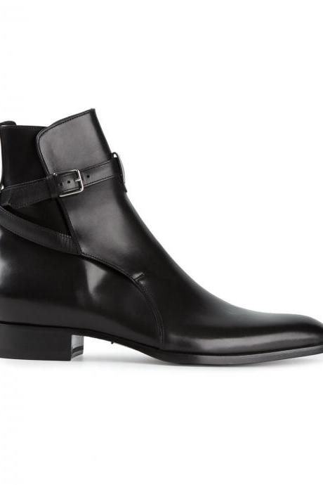 Handmade men black jodhpurs ankle boot, Men ankle high leather boot
