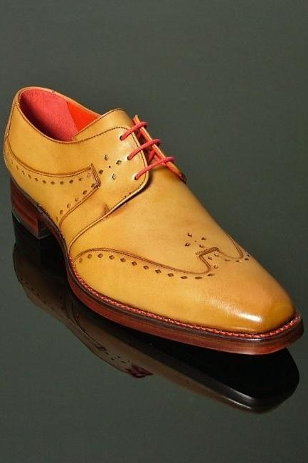 Handmade men dress Tan color wingtip derby formal shoes, Mens leather shoes, Men formal shoes