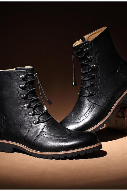 Handmade men lace-up ankle high leather boot, Men leather boots, Men Black boot