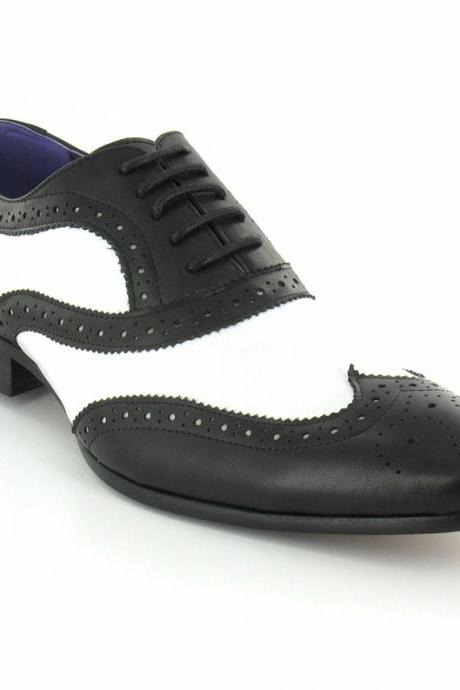 Handmade Men Formal Leather Shoes, Men Black And White Dress Shoes, Mens leather shoes